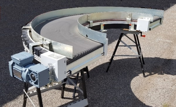 Transnorm curved belt conveyor 180° right bend 500 IR600