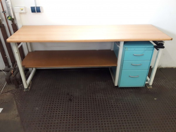Work table packing table workbench adjustable height with wooden top and drawer container