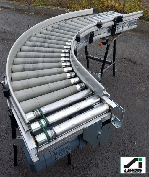 TGW curved roller conveyor 90° right driven + straight section 420-345 IR1050