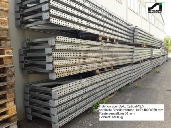 Opitz Pallet rack H x D x W = 4,800 x 850 x 4,400 mm Optipal-12,5