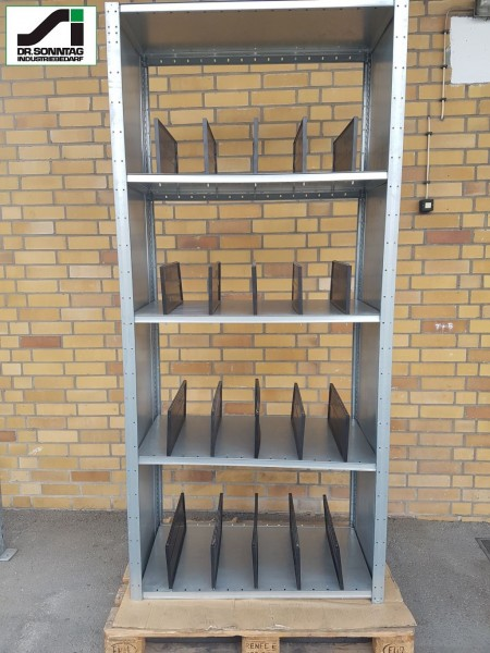 Dexion shelving rack row 5 fields incl. dividers NORA 5000/2300-1000-500
