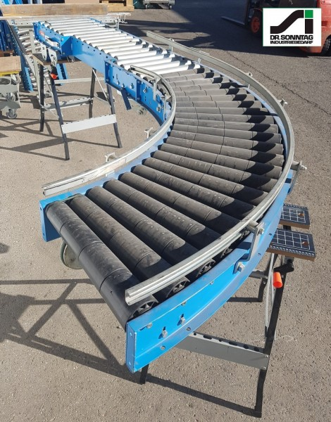Schulz curved roller conveyor 90° right driven + straight section 450-390 IR795 + 1350-450-390