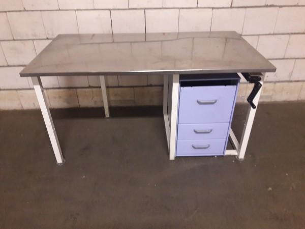Arbeitstisch Packtisch Werkbank höhenverstellbar mit Edelstahlplatte und Schubkastencontainer