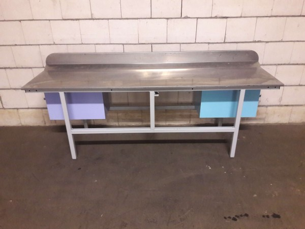 Work table packing table workbench with stainless steel top, rear upstand, 2x lockable containers