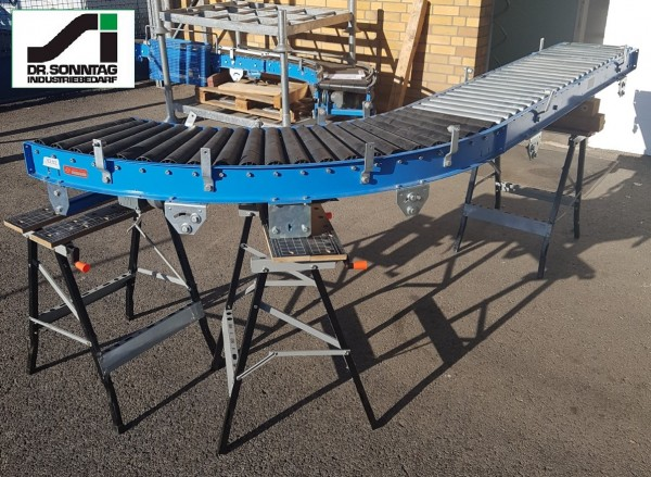 Schulz curved roller conveyor 90° left driven + straight section 450-390 IR795 + 1875-450-390