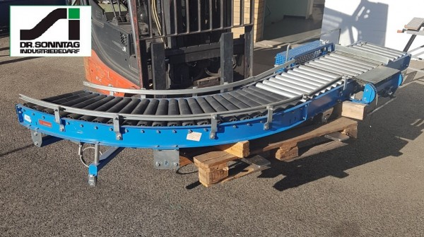 Schulz curved roller conveyor 90° left driven + straight section + pusher 450-390 IR795 + 1600-450-390